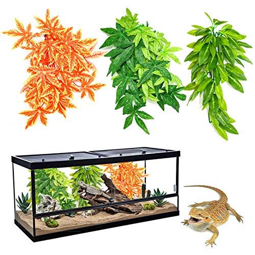 RANYPET 3 unidades de reptiles plantas – Terrario de seda artificial realista con ventosa para...