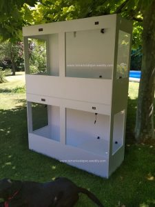 terrario pvc grande para reptiles con ventanas laterales termostato